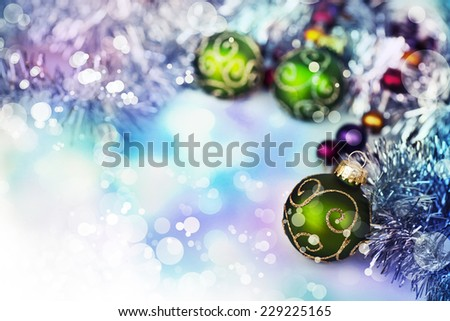 Old vintage christmas decorations with berries and snow - stock photo