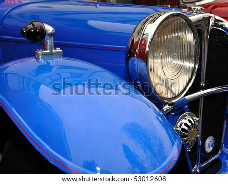 Old vintage classic car, closeup. - stock photo