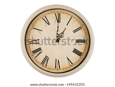 Old vintage clock face isolated on white background