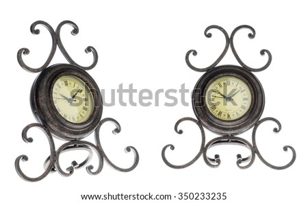 old vintage clock isolated on white background. Front and side view. - stock photo