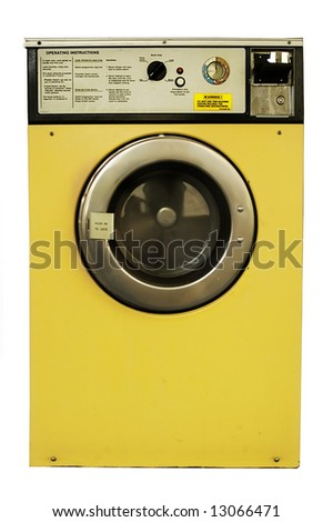 Old vintage coin-operated laundrette washing machine with instructions. - stock photo