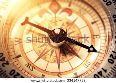 Old vintage compass - stock photo