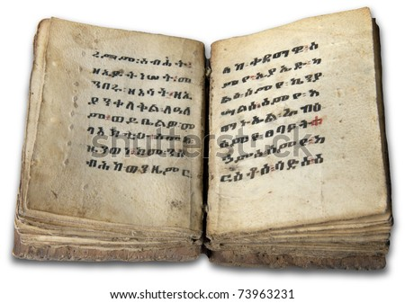Old vintage coptic hand written book - stock photo