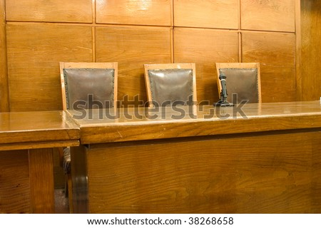 Old vintage court room. - stock photo