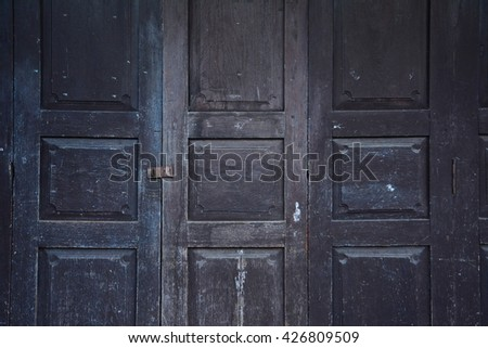 old vintage Dark Brown wood door texture background