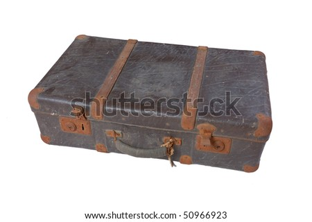Old vintage dark suitcase isolated on white - stock photo