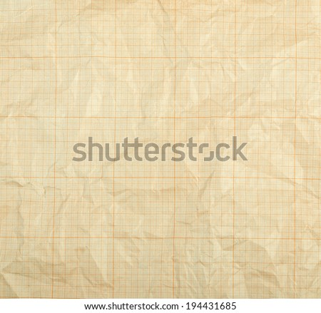 Old vintage discolored dirty graph paper - stock photo