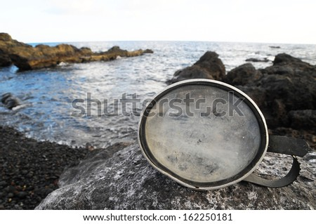 Old Vintage Diving Mask l Near The Atlantic Ocean - stock photo