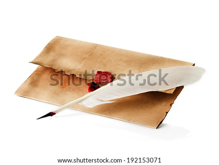 old, vintage envelope and quill pen isolated - stock photo