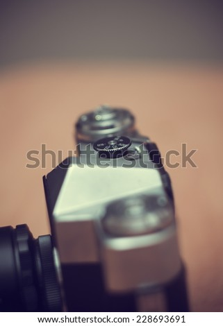 old vintage film camera.shallow DOF - stock photo