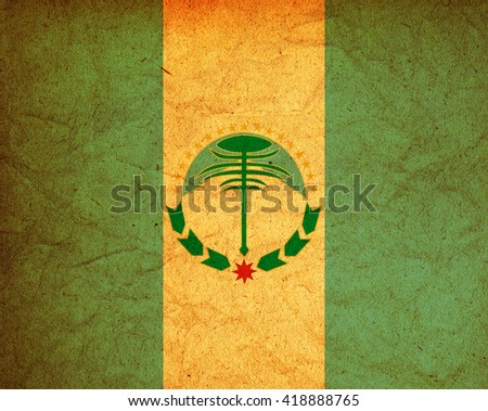 old vintage flag of one of administrative divisions of argentina called neuquen - stock photo