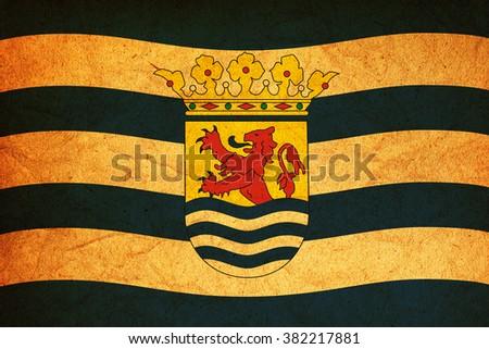 old vintage flag of zeeland region in netherlands - stock photo