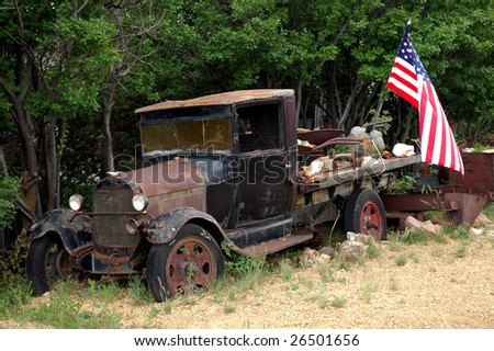 Old Vintage Ford Truck with American Flag