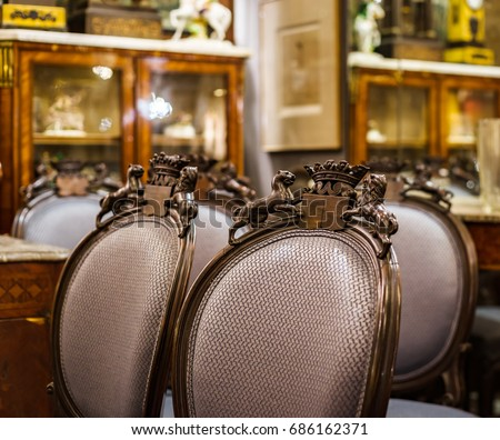 Old vintage furniture in antique shop  Bruxelles  Belgium. Antique Furniture Stock Images  Royalty Free Images   Vectors