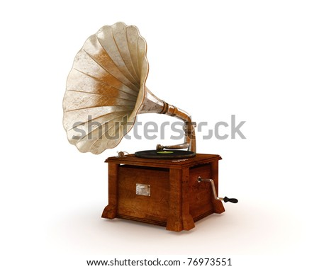 Old vintage gramophone isolated on white - stock photo