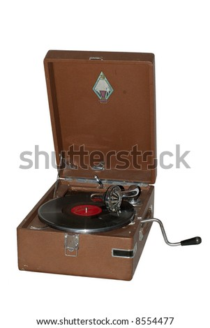 Old vintage gramophone retro-styled, entertainment, old-fashioned - stock photo
