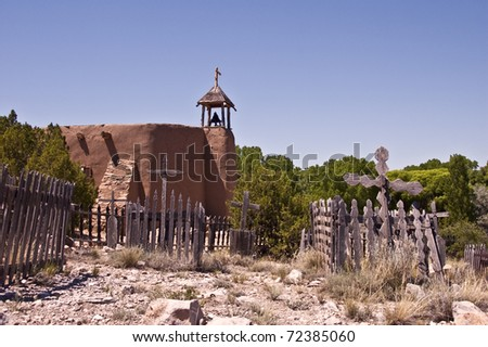Old Vintage graveyard near the village church at Rancho Los Golondrinas just outside of Santa Fe, New Mexico.