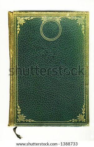 old vintage green leather book - stock photo