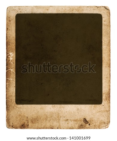 old vintage grunge card board. antique paper sheet with frame isolated on white background - stock photo