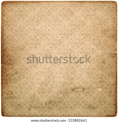 old vintage grunge paper sheet with pattern isolated on white background - stock photo