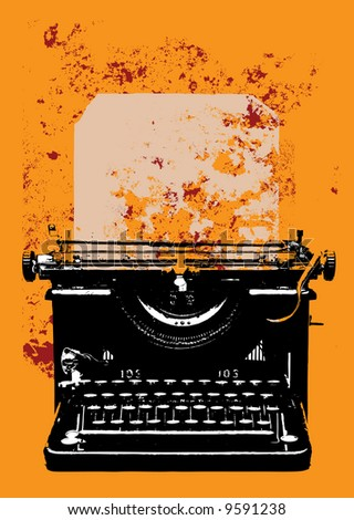 Old vintage grunge typewriter with sheet of paper on yellow background