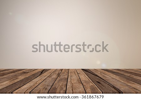 old vintage grungy red brown wood tabletop with blurred light sepia colored background with:grunge aged wooden paving with blurry light cream backdrop.show/advertising/promote products on display. - stock photo