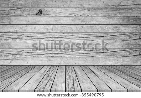 old vintage grungy white/grey colored wood background texture with tabletop for show or advertise and promote product on display.