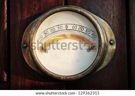 Old vintage inclinometer as a part of sailing boat equipment - stock photo