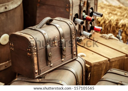 Old vintage leather luggage - stock photo