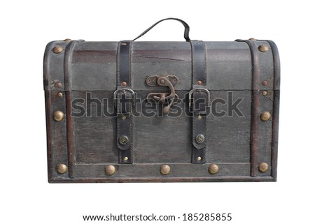 Old vintage leather luggage isolated with clipping path - stock photo