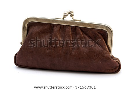 Old vintage leather purse isolated on white background - stock photo