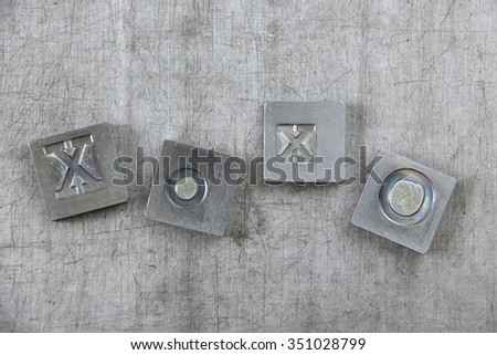 old vintage letters from vintage press - stock photo
