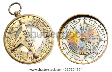 Old vintage metallic clock time zones stock photo royalty free old vintage metallic clock with time zones and compass isolated on white background sciox Image collections