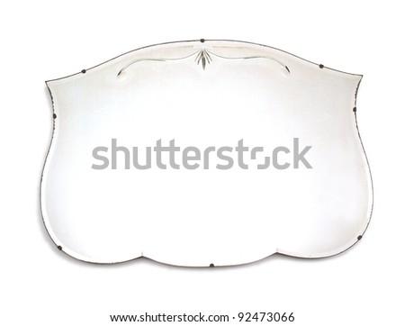 old vintage mirror on white background - stock photo