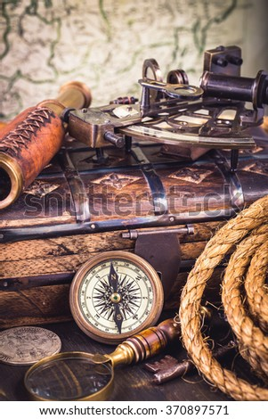 Old vintage nautical instruments vertical - stock photo