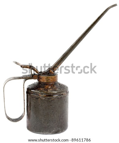 Old vintage oil can isolated on white background - stock photo
