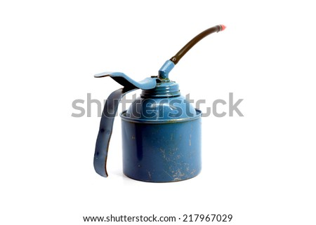 Old vintage oil can isolated on white background thailand - stock photo