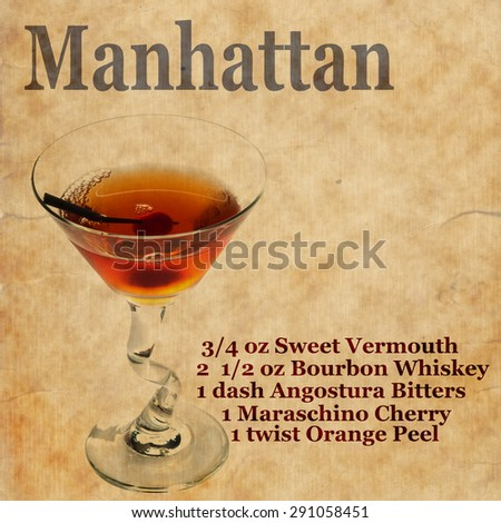 Old,vintage or grunge Recipe  Notebook with Manhattan  cocktail  on the page.Room for text - stock photo