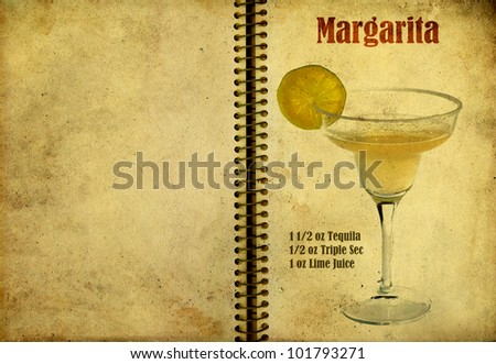 Old,vintage or grunge Spiral Recipe  Notebook with Margarita cocktail  on the page.Room for text - stock photo