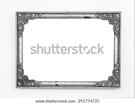 Old vintage ornate metal frame, isolated. - stock photo