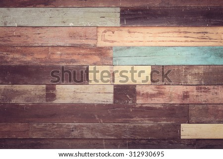 Old vintage panel wood background from solid wood ruin table pale gross color with pastel blend - stock photo