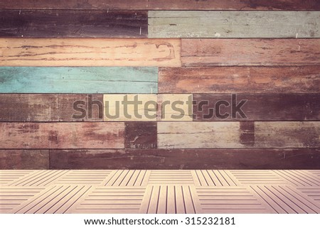 Old vintage panel wood background from solid wood ruin table pale gross color with pastel blend with wood pave under - stock photo