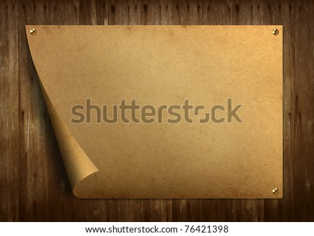 Old vintage paper on old wood background - stock photo