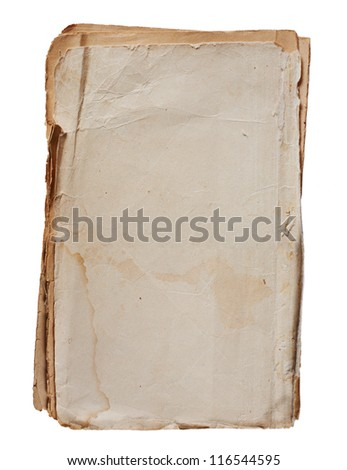 old vintage paper sheet isolated on white - stock photo