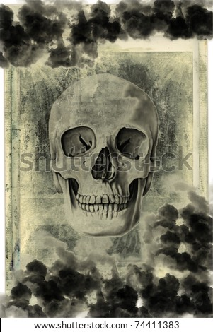 Old vintage paper with drawing skull