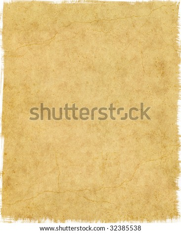 Old vintage paper with tattered edges and cracks; large file size. - stock photo