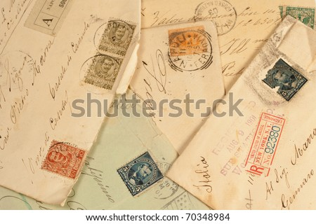 old vintage personal handwritten letter - stock photo