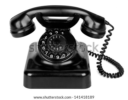 Old vintage phone isolated on white background