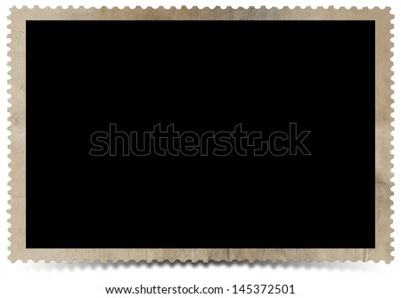 Old Vintage Photo Frame / Aged photo frame on white background with shadow - stock photo
