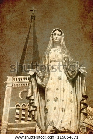 Old vintage photo of virgin mary statue at catholic church